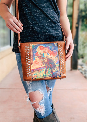 Brown Colorful Bronc Crossbody Handbag