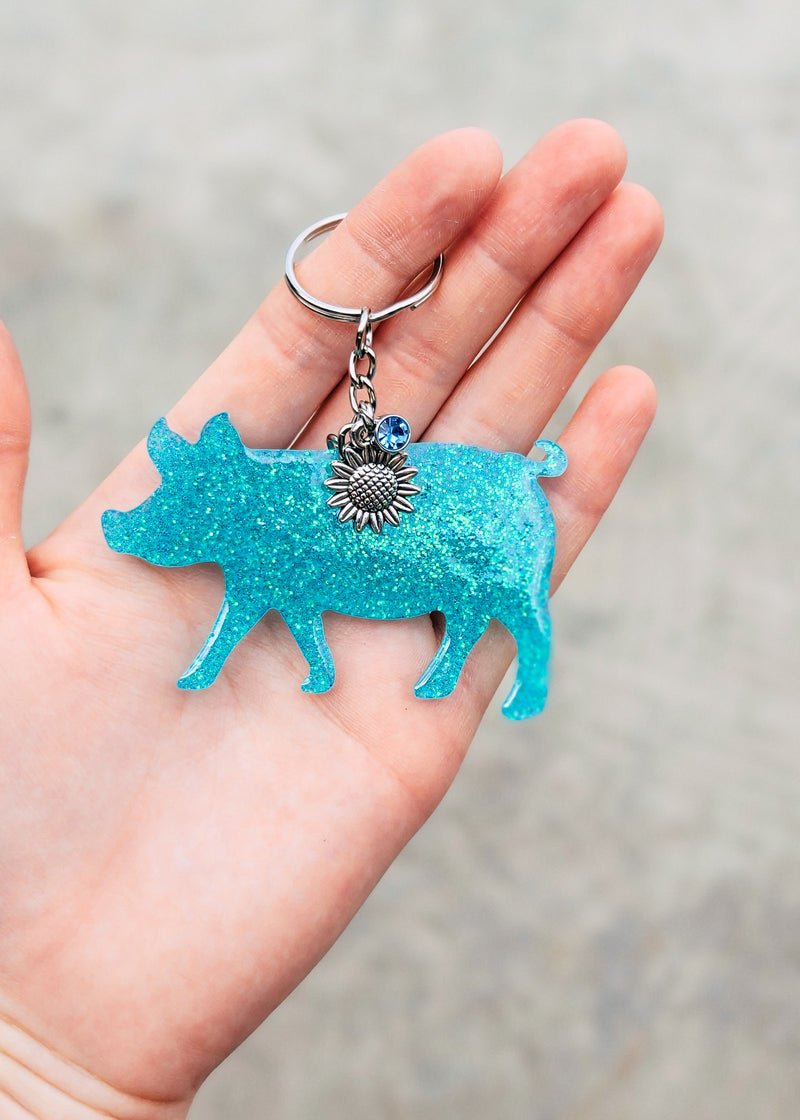 Turquoise Pig Keychain