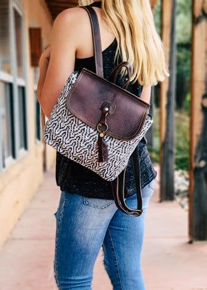 Aztec & Leather Backpack