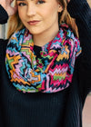 Multi Color Aztec Infinity Scarf on blonde model, shot outside