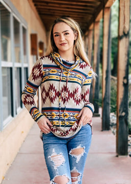 Taupe Aztec Cowl Neck Long Sleeve Top