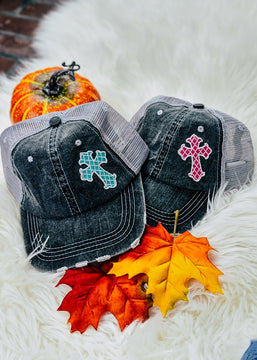 Side Cross Trucker Cap [Teal or Pink]
