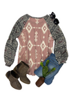 Dusty Pink Aztec Long Sleeve Top