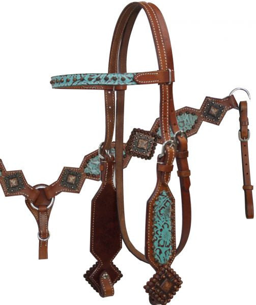 Turquoise Filigree Diamond Headstall Set