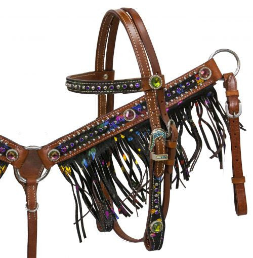 Pony Metallic Fringe Headstall Set