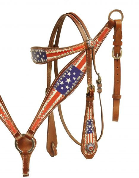 American Flag Headstall Set