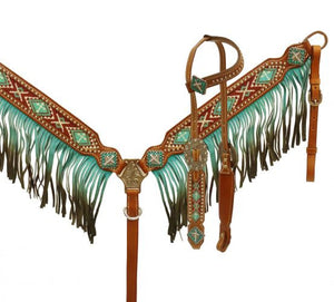Teal and Fringe Beaded Headstall Set