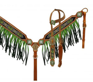 Lime Green Ombre Beaded Headstall Set