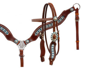 Teal and Clear Beaded Headstall Set