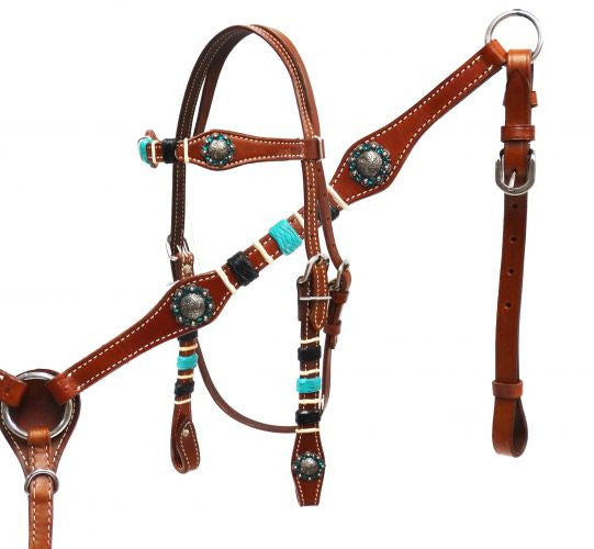 Braided Turquoise Rawhide Headstall Set