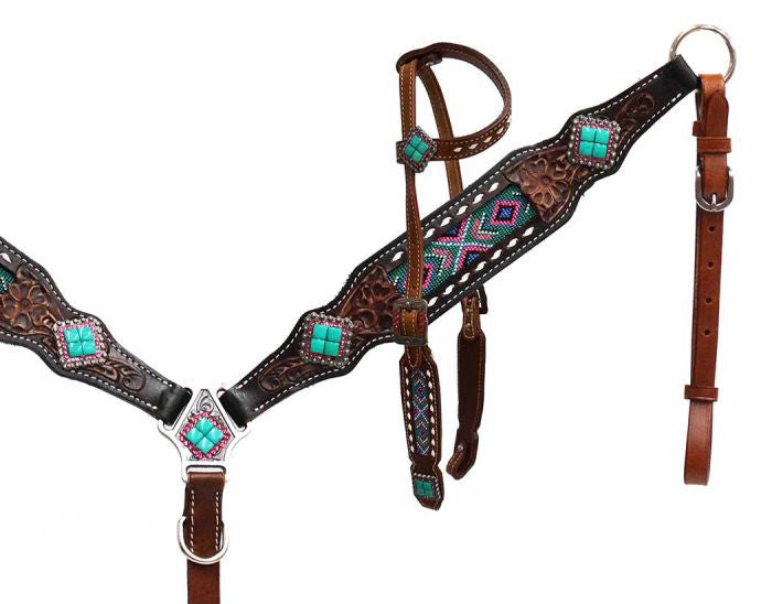 Beaded Teal Headstall Set