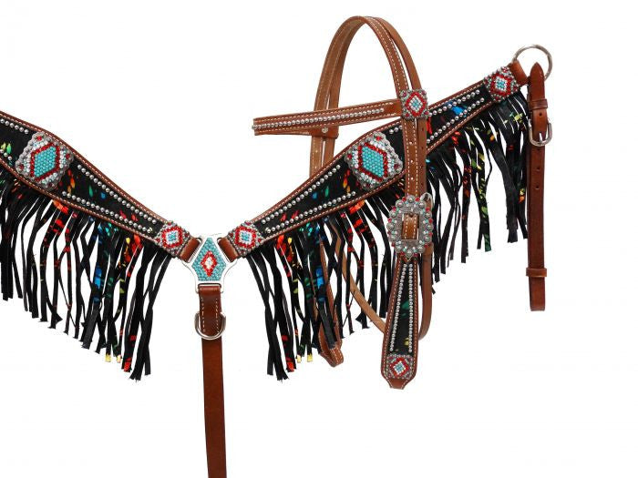 Metallic Rhinestone Fringe Headstall Set