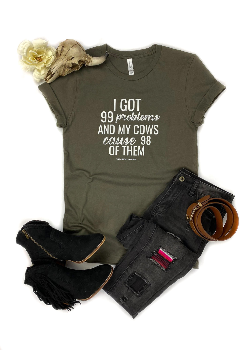 Army Green Problem Cows Short Sleeve Tee