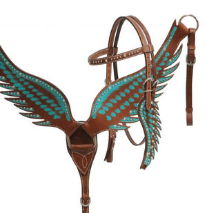 Angel Wing Teal Headstall Set