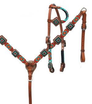 Teal, Gold & Black Beaded Headstall Set