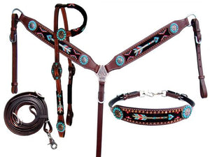 Beaded Arrow 4 Piece Headstall Set