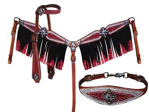Red & Silver Glitter Headstall Set