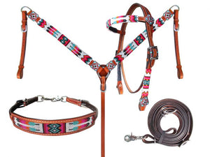 Orange, Pink, Turquoise Beaded Headstall Set