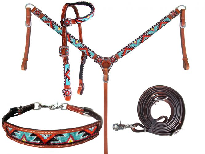 Orange, Red, Turquoise Beaded Headstall Set