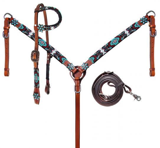 Turquoise & Burgundy Beaded Headstall Set