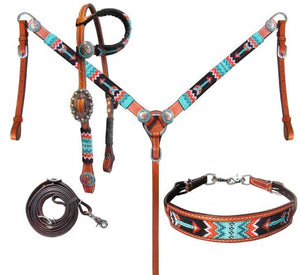 Turquoise & Red Arrow Beaded Headstall Set