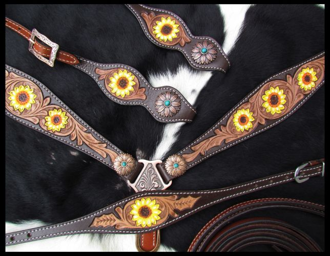 One Ear Sunflower Tooled 3 Piece Headstall Set