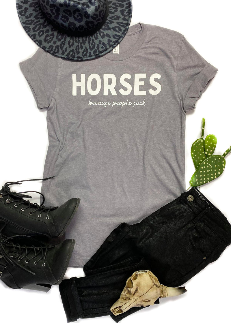 Heather Grey Horses Because People Suck Short Sleeve Graphic Tee
