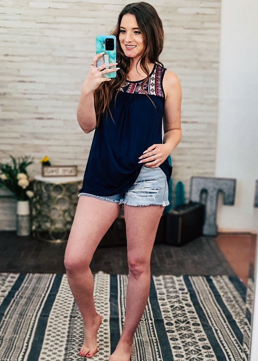 Navy Paisley Tunic Sleeveless Top