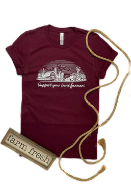 CLOSEOUT- Maroon Support Your Local Farmers Short Sleeve Tee