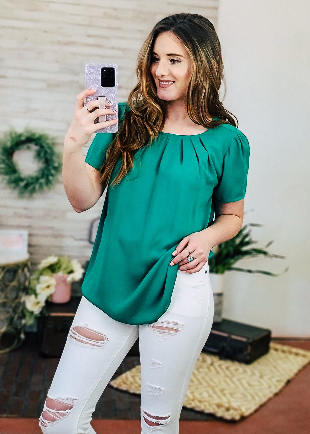 Kelly Green Pleated Chiffon Short Sleeve Top