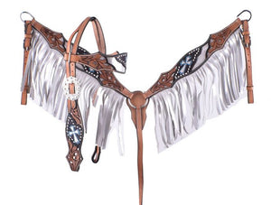 Silver Painted Fringe Headstall Set