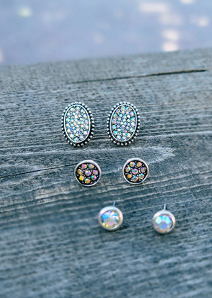 Silver Rhinestone 3 Piece Earring Set