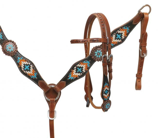 Navajo Embroidered Headstall Set