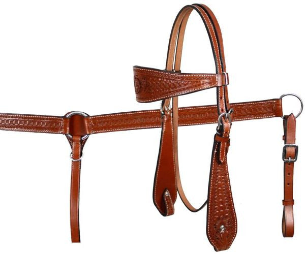 Medium Oil Tooled Plain Headstall Set