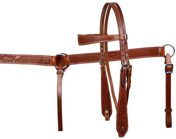 Medium Oil Basketweave Floral Tooled Headstall Set