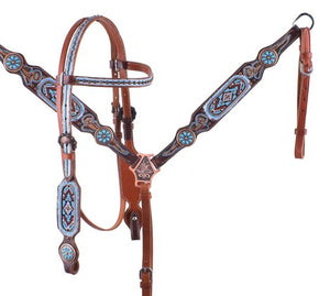 Light Blue Beaded Headstall Set