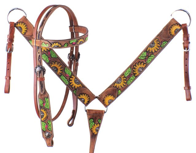 Half Sunflower & Cactus Headstall Set