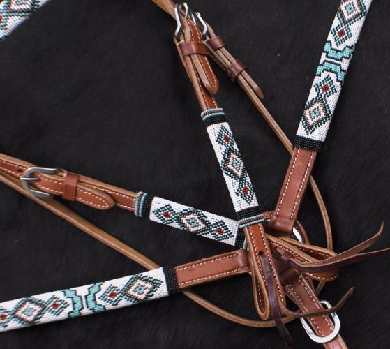 Turquoise & Red Beaded Headstall Set