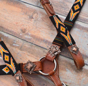 Orange & Yellow Beaded Headstall Set
