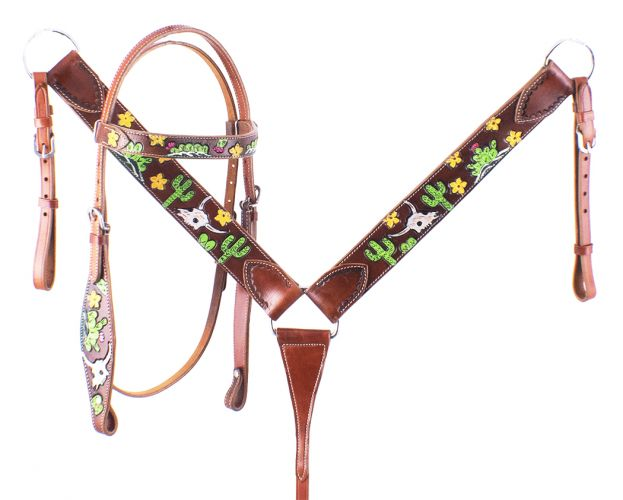 Steer Skull & Cactus Painted Headstall Set