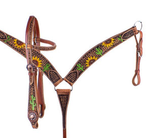 Painted Sunflower & Cactus Headstall Set