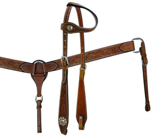 One Ear Plain Floral Headstall Set