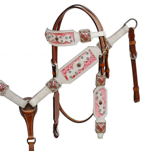 Pink and White Gator Headstall Set