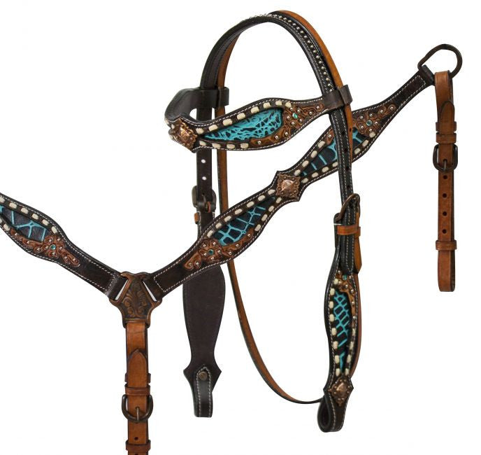 Teal Gator Buck Stitch Headstall Set