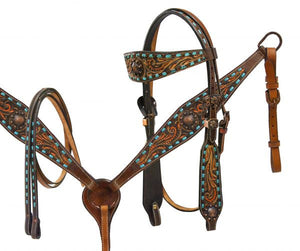 Teal Buck Stitch Headstall Set