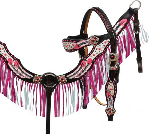 Pink Feather Fringe Headstall Set