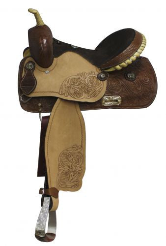 "14"" Black Suede Barrel Saddle"
