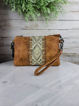 Tan Aztec Crossbody/Clutch Handbag