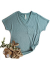 Aqua V-Neck Slouchy Short Sleeve Top