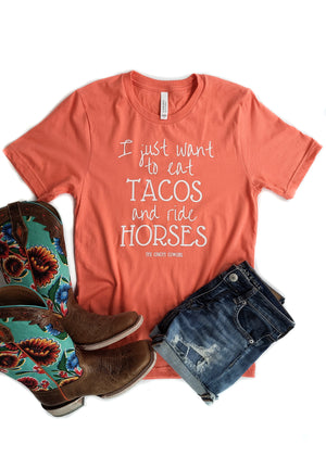 Coral Eat Tacos & Ride Horses Short Sleeve Graphic Tee